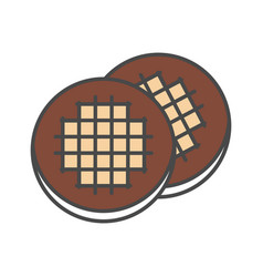 Chocolate cookie isolated icon vector