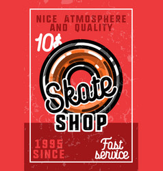 color vintage skate shop banner vector image