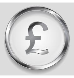 Concept metallic pound symbol logo button vector