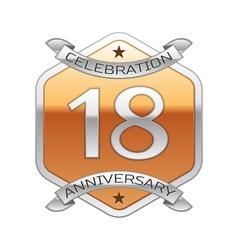 Eighteen years anniversary celebration silver logo vector