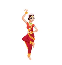 Ethnic dance of cartoon indian girl vector
