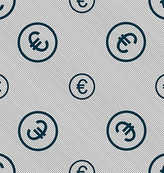 Euro icon sign Seamless pattern with geometric vector image vector image