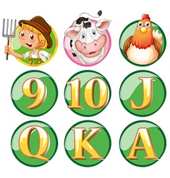 Farmer and animals on round badge vector