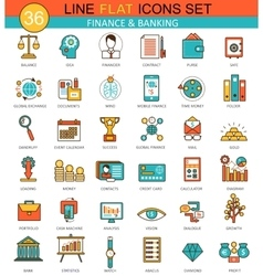 Finance and banking flat line icon set vector image vector image