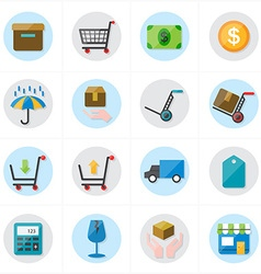 Flat Icons For Business Icons and Ecommerce Icons vector image