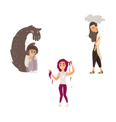 Flat people suffering from mental illness vector