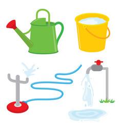 garden equipment water can faucet sprinkle vector image