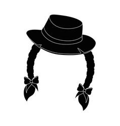 isolated braid hair hat vector image