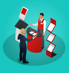 isometric promotional stands or exhibition stands vector image vector image