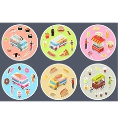 Isometric Street Food Trucks Set vector image