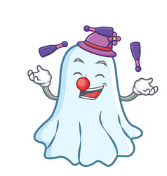 juggling cute ghost character cartoon vector image vector image
