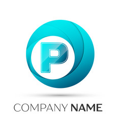 letter p logo symbol in the colorful circle on vector image