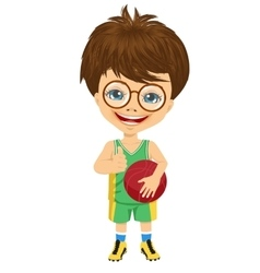 little boy holding basketball vector image vector image