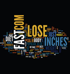 Lose inches fast text background word cloud vector