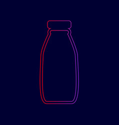 Milk bottle sign line icon with gradient vector
