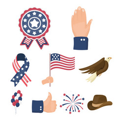 patriot day set icons in cartoon style big vector image vector image