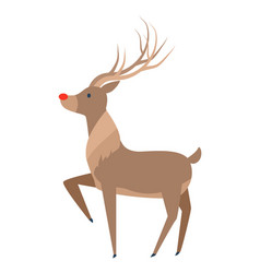 Reindeer with luxury horn profile side view vector