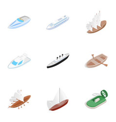 sea ship boat and yacht icons isometric 3d style vector image
