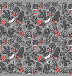 seamless pattern with hand drawn cactus vector image vector image