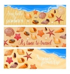 Shells And Sea Stars Banner Set vector image
