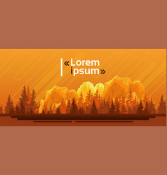 Silhouette summer landscape mountain forest sky vector