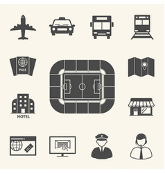 Soccer symbol icons access to football stadium vector