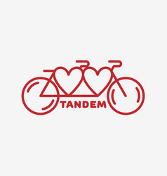 tandem bike label vector image vector image