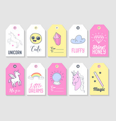 unicorn kids tags collection for family party vector image