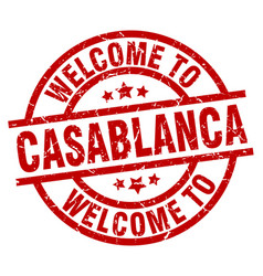 Welcome to casablanca red stamp vector