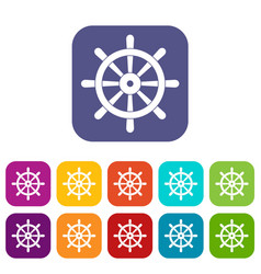 Wooden ship wheel icons set flat vector
