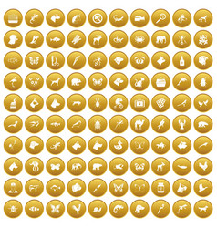 100 animals icons set gold vector