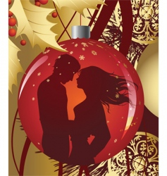 christmas ball with kissing couple vector image