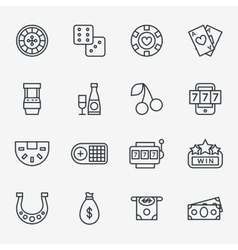Casino line icons Poker club and gambling linear vector image