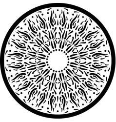 Black outline mandala ornament intricate pattern vector