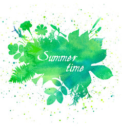Floral summer background with leaves and flowers vector