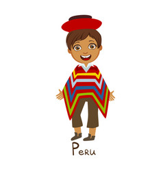 Boy in peru country national clothes wearing vector