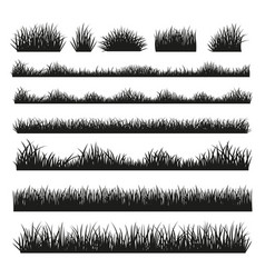 Grass silhouette borders set on background vector