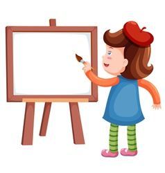 Girl painting blank whiteboard vector