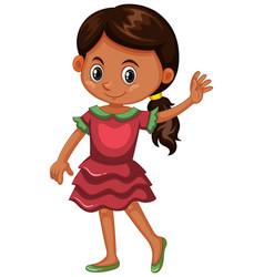 Girl in pink dress vector