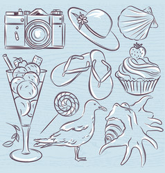 Set of summer symbols seashell seagull vector