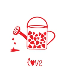 Love watering can with hearts inside card vector