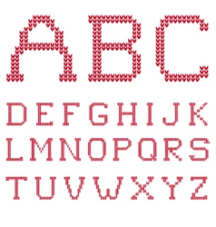 Knitted abc letter set vector