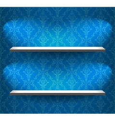 Shelves on the blue wall vector