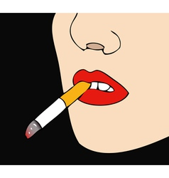 Woman with cigarette in mouth black background vector