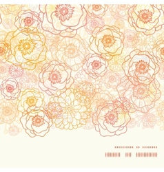Warm flowers horizontal frame seamless vector