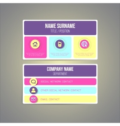 Business card template made in bright funky vector