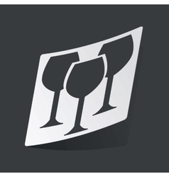 Monochrome wine glass sticker vector