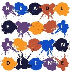 Headline with color splash and blots vector