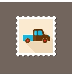 Pickup truck flat stamp with long shadow vector