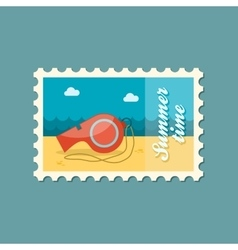 Whistle flat stamp summertime vector